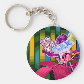 Abstract Perspective Basic Round Button Keychain