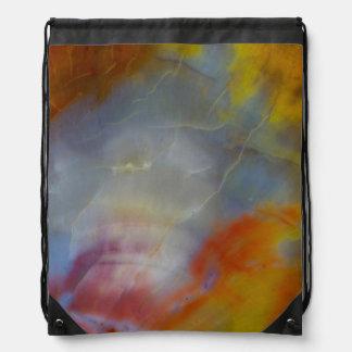 Abstract Petrified Wood close-up Drawstring Bag