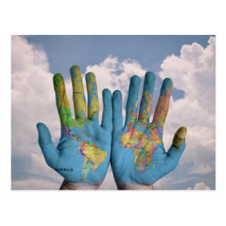 Abstract Photo Art World Map in Hands Postcard