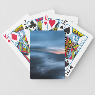 abstract photograph blue bicycle playing cards