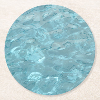 Abstract Photography Aqua Swimming Pool Water Round Paper Coaster