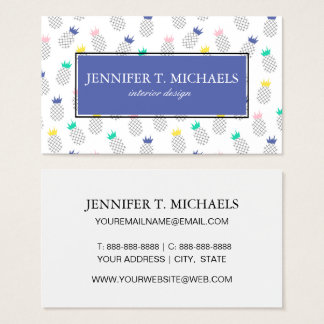 Abstract Pineapples | Monogram Business Card