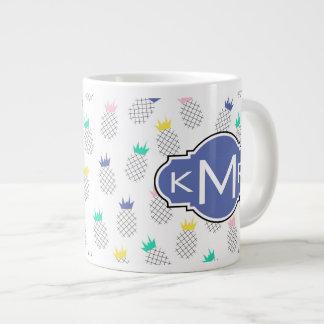 Abstract Pineapples | Monogram Giant Coffee Mug