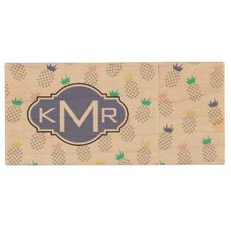 Abstract Pineapples | Monogram Wood USB 2.0 Flash Drive