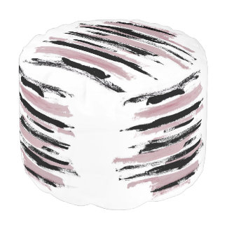 Abstract Pink and Black Strokes Pouf