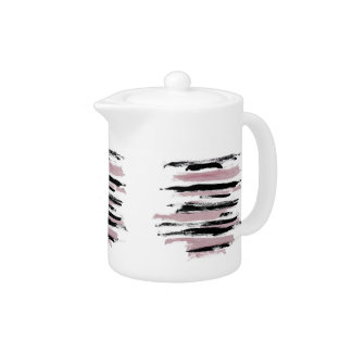 Abstract Pink and Black Strokes Teapot