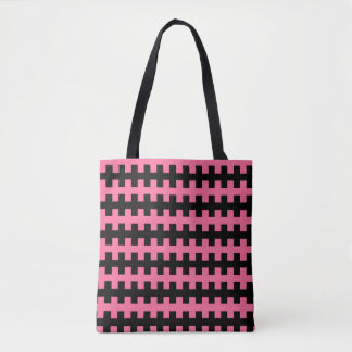 Abstract Pink and Black Tote Bag
