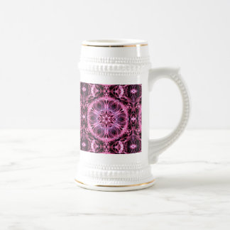Abstract Pink and Blue Fractal Beer Steins
