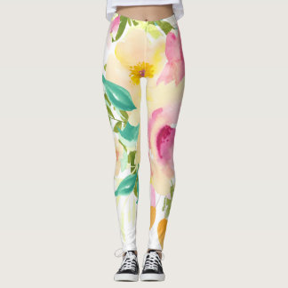Abstract Pink and Peach Watercolor Flowers Leggings