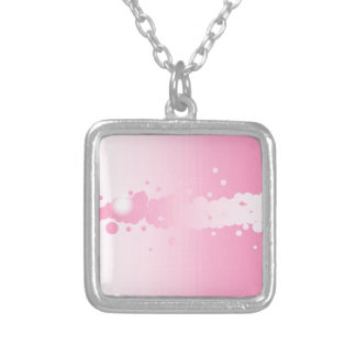 Abstract Pink Background Silver Plated Necklace