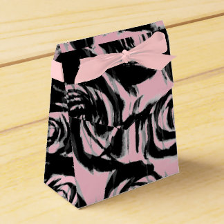 Abstract Pink & Black Roses Motif on a Favor Box