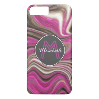 Abstract, Pink, Black & White Marble Mongram iPhone 8 Plus/7 Plus Case
