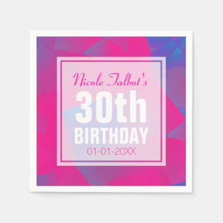 Abstract Pink Blue 30th Birthday Paper Napkins