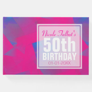 Abstract Pink Blue 50th Birthday Guest Book