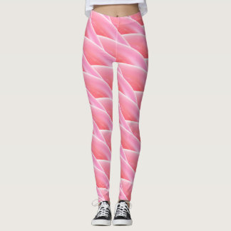 Abstract Pink Curly Wave Pattern Leggings
