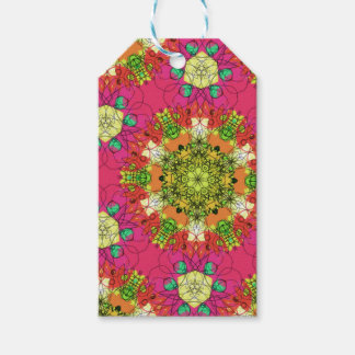 Abstract pink floral gift tags