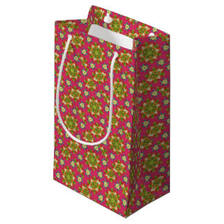 Abstract pink floral small gift bag
