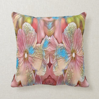 abstract pink flowers throw pillow