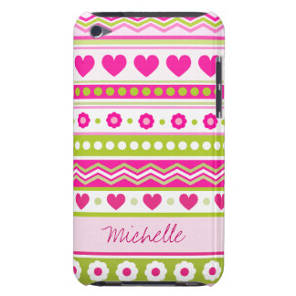 Abstract Pink green pattern + dots flowers hearts Barely There iPod Cases