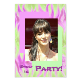 """Abstract Pink Green Sweet Sixteen Party Invitation 3.5"""" X 5"""" Invitation Card"""