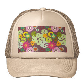 Abstract pink green yellow  floral pattern. trucker hat