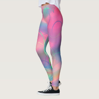 Abstract Pink Hearts Leggings