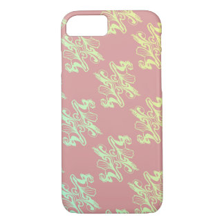 Abstract pink  mod damask texture iPhone 7 case