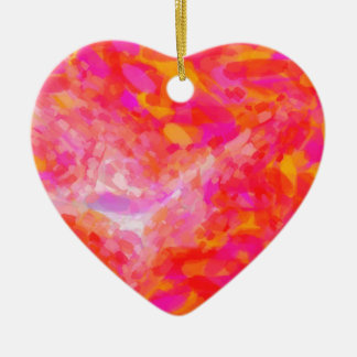 Abstract Pink Nebulla with Galactic Cosmic Cloud 3 Ceramic Ornament