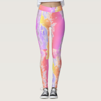 Abstract Pink Pattern Leggings