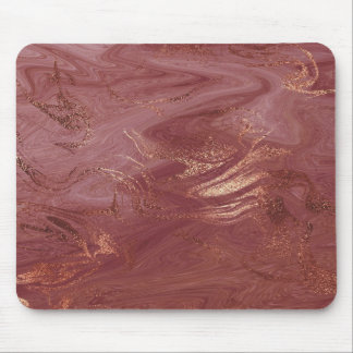 Abstract Pink Rose Gold Blush Gold Metallic Marble Mouse Pad