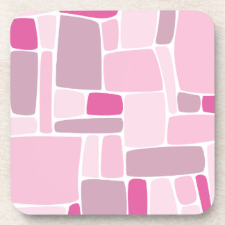 Abstract Pink Squares Beverage Coaster