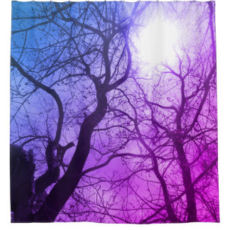 Abstract pink tree  Shower Curtain purple blue