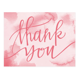 Abstract Pink Watercolor | Thank You Postcard