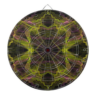 Abstract Pink, Yellow and Black Fractal Dart Board