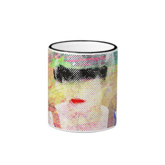 Abstract Pinup Coffee Cup Ringer Coffee Mug