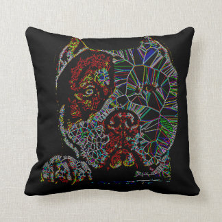 Abstract Pit Bull Terrier Dog Pit Breed Colorful Throw Pillow