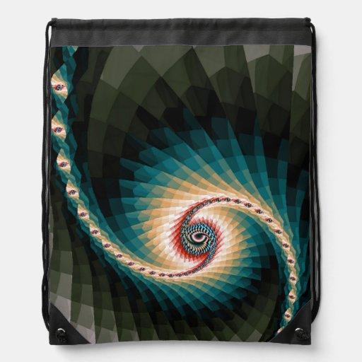 Abstract Pixel Spiral Drawstring Bags