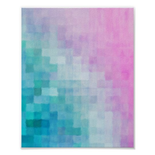 Abstract Pixel Watercolor Pattern Art Poster