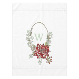 Abstract Poinsettia Monogram Holiday Tablecloth