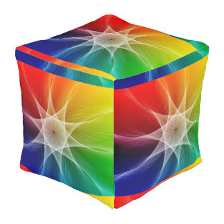 Abstract Polyester Cubed Pouf (Large)