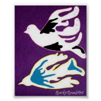 Abstract  Pop Art Two Doves Poster