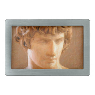 abstract portrait of a young man belt buckle