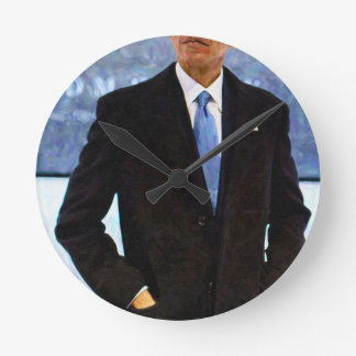 Abstract Portrait of President Barack Obama 10 Round Clock