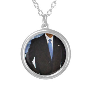 Abstract Portrait of President Barack Obama 10 Silver Plated Necklace
