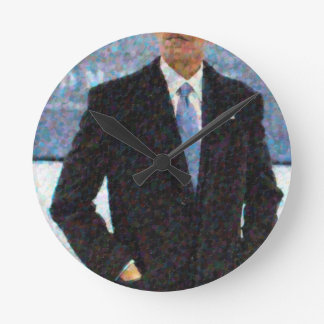 Abstract Portrait of President Barack Obama 10a.jp Round Clock