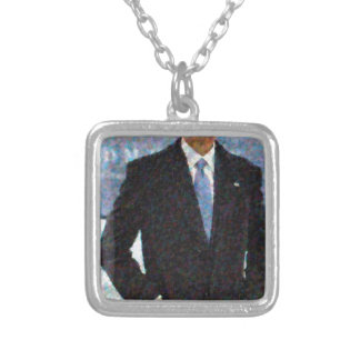 Abstract Portrait of President Barack Obama 10a.jp Silver Plated Necklace