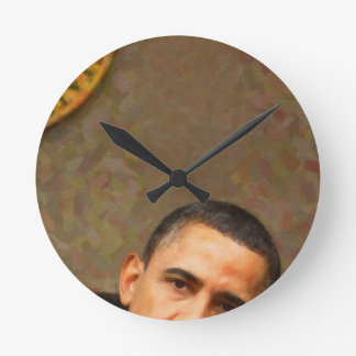 Abstract Portrait of President Barack Obama 11 Round Clock