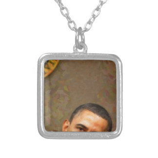 Abstract Portrait of President Barack Obama 11 Silver Plated Necklace