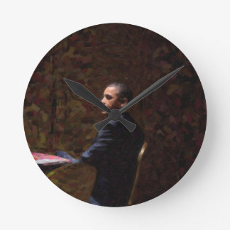 Abstract Portrait of President Barack Obama 13 Round Clock