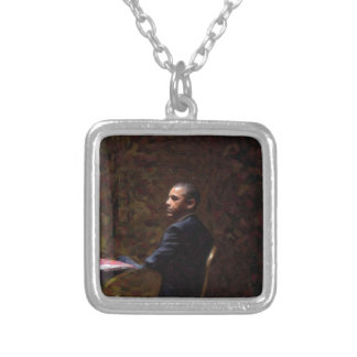 Abstract Portrait of President Barack Obama 13 Silver Plated Necklace